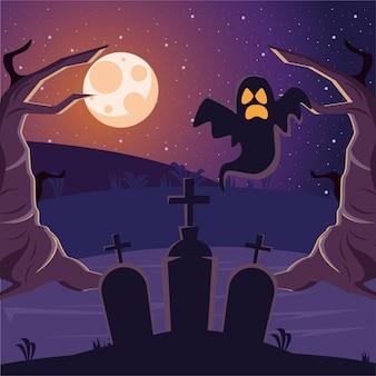 Halloween kerkhoven graven begraafplaats met spook