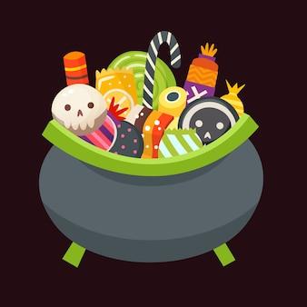 Halloween-ketel vol snoep, snoep en desserts