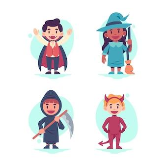 Halloween kid collectie plat ontwerp