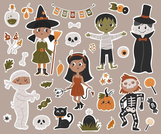 Halloween kids in kostuums stickers collectie. vectorillustratie voor ontwerp van planners, notebooks en meer