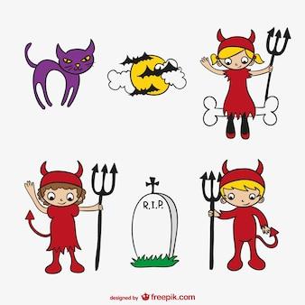 Halloween kind cartoon set
