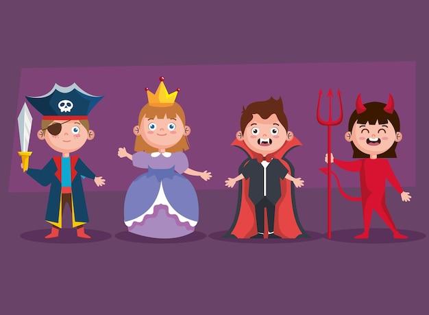 Halloween kinder icoon collectie