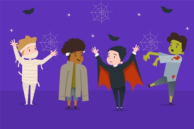 Halloween-kindercollectie in plat ontwerp