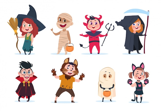 Halloween kinderen. cartoon kinderen in halloween-kostuums. grappige meisjes en jongens op feestje geïsoleerde charactres