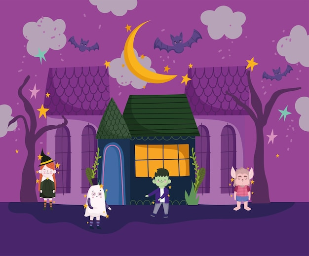 Halloween kinderen in kostuums