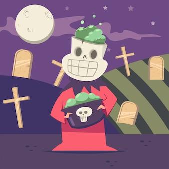 Halloween kinderkostuum van skelet op de achtergrond van het kerkhof en de maan.