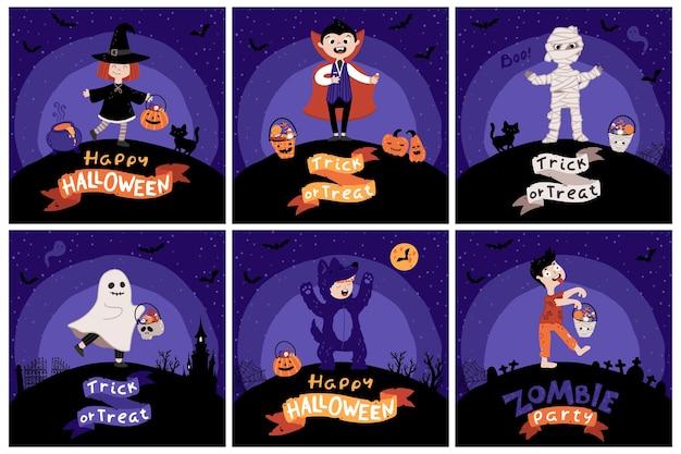 Halloween kinderkostuumfeest. kaartenset. kinderen met emmers snoep in verschillende kostuums voor de vakantie. nacht hemel achtergrond. schattige kinderachtige illustratie in cartoon handgetekende stijl. belettering.