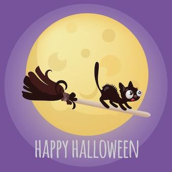 Halloween kitten op bezem animal funny cartoon hand getrokken illustratie