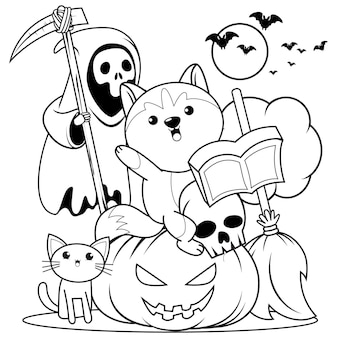 Halloween kleurboek schattig klein meisje heks24
