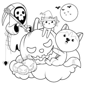 Halloween kleurboek schattige husky6