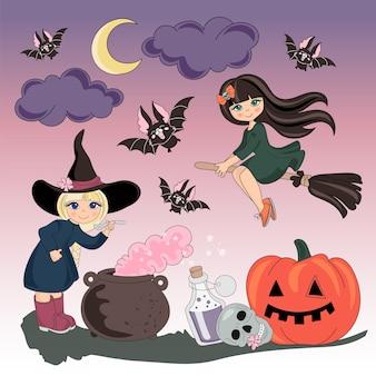 Halloween-kleuren vectorillustratiereeks halloween Premium Vector