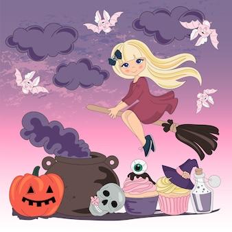 Halloween-kleuren vectorillustratieset vliegende heks Premium Vector