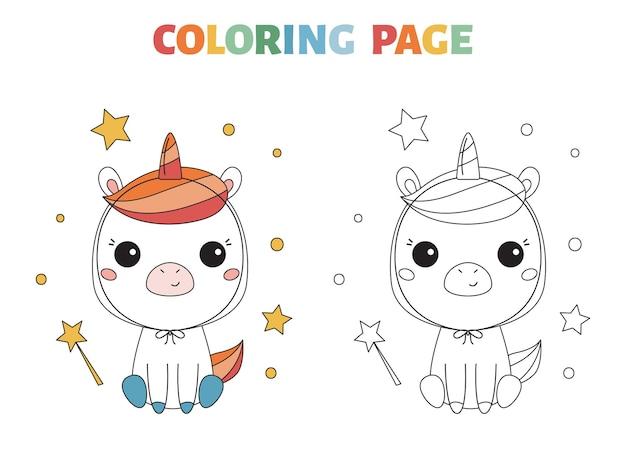 Halloween kleurplaat met schattige pony in eenhoornkostuum