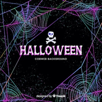 Halloween kleurrijke spinnewebachtergrond