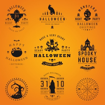 Halloween labels en logo's collectie