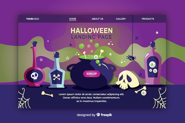 Halloween-landingspagina in plat ontwerp