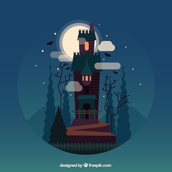 Halloween landschap achtergrond met betoverd kasteel