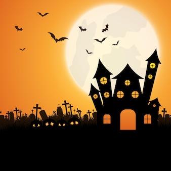 Halloween-landschapsachtergrond met griezelig huis en jack o lanterns