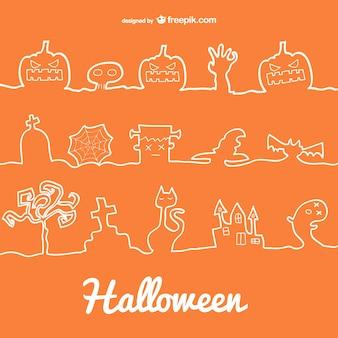 Halloween lijn decoratie iconen