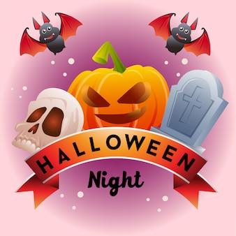 Halloween-lint met de schedegraf van de pompoenknuppel