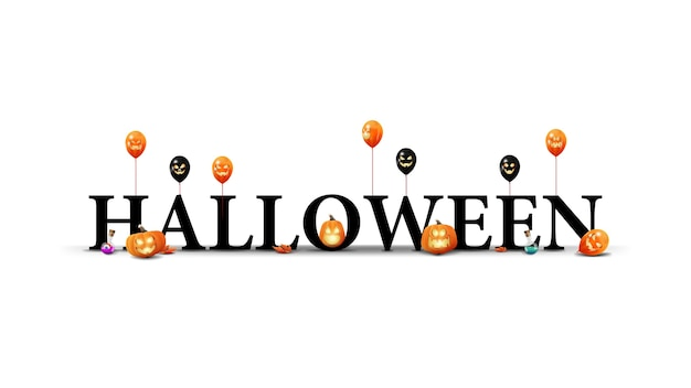 Halloween-logo, teken, symbool. 3d-titel met halloween-pompoenen, ballonnen en esdoornbladeren geïsoleerd op een witte achtergrond