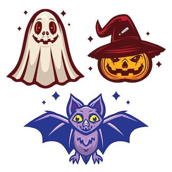 Halloween mascot set