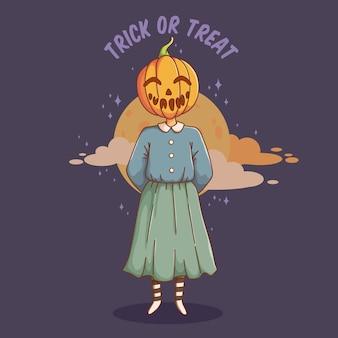 Halloween meisje met pompoen hoofd stripfiguur op donkere achtergrond