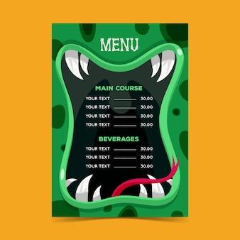 Halloween menu sjabloonontwerp