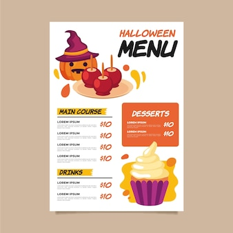 Halloween menusjabloon in plat ontwerp