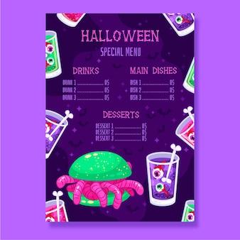 Halloween menusjabloon in plat ontwerp