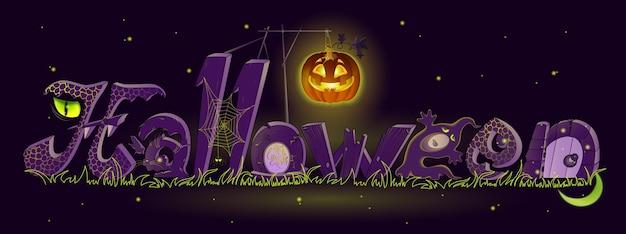 Halloween met enge letters in de vorm van een grafsteen