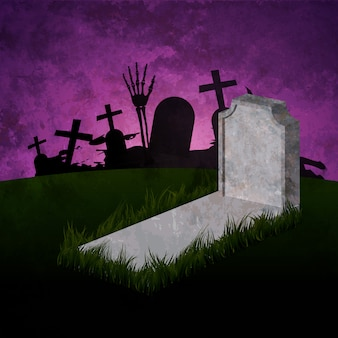 Halloween met graf en geest