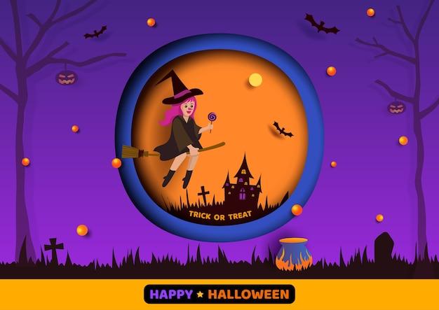 Halloween met heksenmeisje op paarse achtergrond