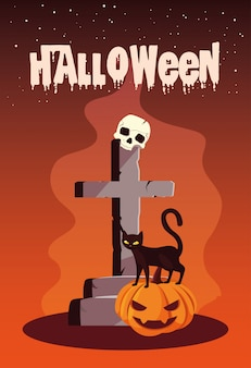 Halloween met kat en pictogrammen