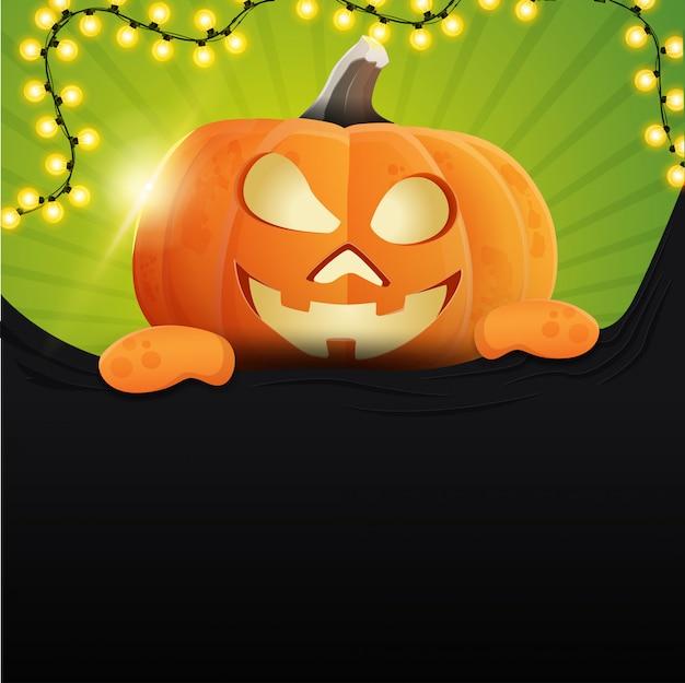 Halloween met leuke pompoen jack Premium Vector