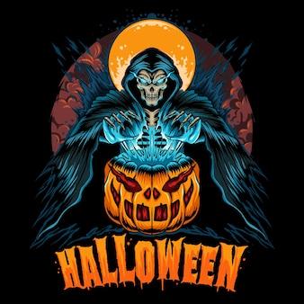 Halloween met pompoen en magere hein magere hein ziet er zo cool uit