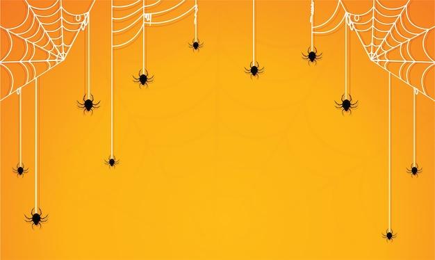 Halloween met spinnenweb gele achtergrond
