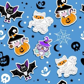 Halloween mode patch badges met schattige cartoon gember kat in mummie kostuum uil eenhoorn pompoen