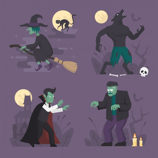Halloween-monster kostuums in plat ontwerp, halloween karakter illustratie, vampier, weerwolf, heks, frankenstein