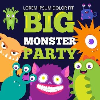Halloween monster partij poster sjabloon met schattige stripfiguren.