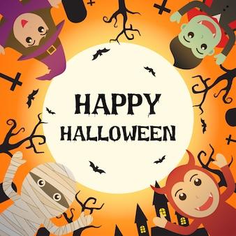 Halloween-monsterkostuum in kerkhof