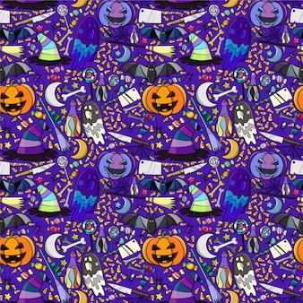 Halloween naadloos patroon. abstracte hand getekende vector achtergrond.