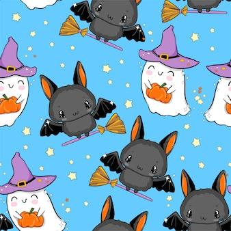 Halloween naadloos patroon geest met pompoen en vleermuis