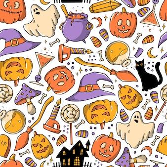 Halloween naadloos patroon met doodles