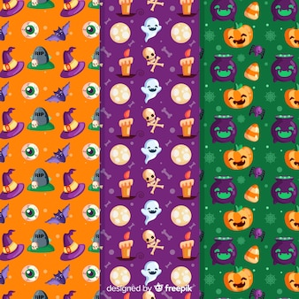Halloween naadloos patroon met feestelijke karakters