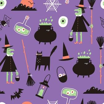 Halloween naadloos patroon met heks zwarte kat magische ketel en drankje