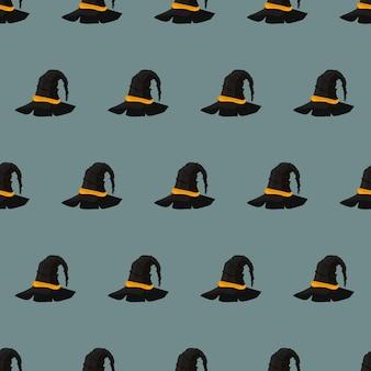 Halloween naadloos patroon met heksenhoed. eindeloze achtergrond. vector.