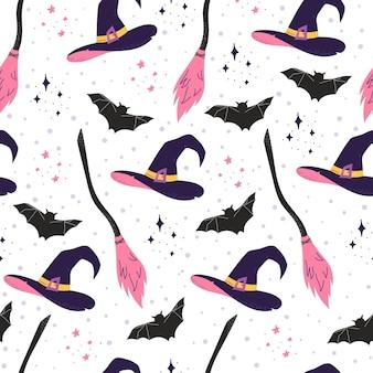 Halloween naadloos patroon met heksenhoed
