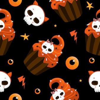 Halloween naadloos patroon met leuke halloween-elementen. halloween-vectorachtergrond. eps 10