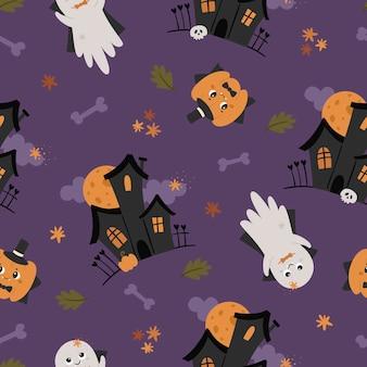 Halloween naadloos patroon met leuke spoken.
